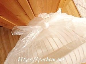 ごみ袋で扇風機を収納