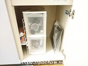 キッチン用品を入れている収納ケース